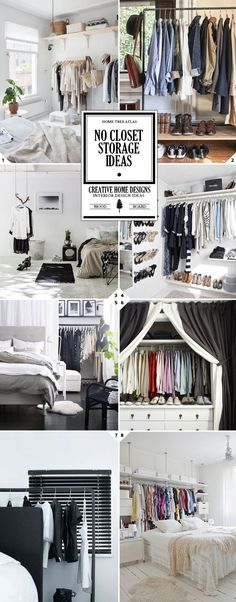 Hide An Open Closet With Curtains That Hung From The