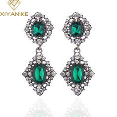 XIYANIKE Vintage Long Earrings Antique Branze Green Stone Crystal Drop Earrings For Women Indian Wedding Jewelry Wholesale E48 #Indian fashion http://www.ku-ki-shop.com/shop/indian-fashion/xiyanike-vintage-long-earrings-antique-branze-green-stone-crystal-drop-earrings-for-women-indian-wedding-jewelry-wholesale-e48/