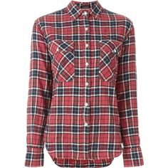 R13 Classic Plaid Shirt (240 CAD) ❤ liked on Polyvore featuring tops, red, shirt tops, plaid shirts, red tartan shirt, red plaid shirt and plaid top