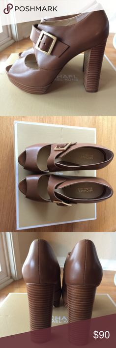 "NWB Michael Kors Eleni Platform Leather NWB Michael Kors Eleni Platform Leather Peep-toe Mary Jane 6M -100% Authentic Michael Kors -Size: 6M (36) -Color: ""Luggage"" Light brown or Tan -Material: Leather Upper, rubber sole,  -Measurements: 4.5"" heel, 1"" platform , feels like 3.5"" heel -Feature: Buckle fastener, Peeptoe, Mary Jane -MSRP: $165 Michael Kors Shoes Platforms"