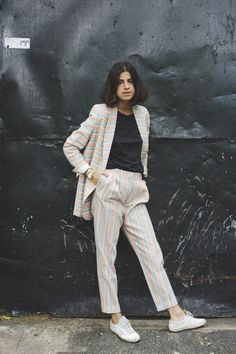 Man Repeller - Leandra Medine lookin' mighty fine in pastel stripes.