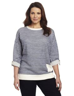 aeea9b8fe99 Jones New York Women s Plus-Size Boatneck Roll Tab Sleeve With Pocket.  topsandteesy · Tunics
