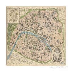 size: Framed Art Print: Vintage Paris Map by The Vintage Collection : Our professional designers have pre-selected this frame and mat combination to complement your art print. Each piece is hand-framed by framing experts right here in the USA. Framed Maps, Framed Art Prints, Poster Prints, Map Posters, Paris Home Decor, Paris Map, Paris France, Vintage Paris, Map Art