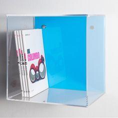 Mensola Cubo color 33x33 p.25 spessore 5mm. Mensole modulari a cubo in #plexiglass #mensole #cubo #shopping #online #arredo #interiordesign #arredamento #libreria #metacrilato #trasparente #celeste    Prezzo : 80€