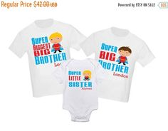 Let your little one show off in a fun way with this personalized big brother t-shirt.  This listing is for 3 personalized t-shirts. You can add