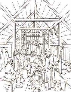 BOOST Story of the Vikings Coloring Book Dover Publications Vikings Live, Norse Vikings, Minnesota Vikings Logo, Viking House, Medieval, Viking Logo, Interior Sketch, Interior Design, Dover Publications