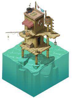 Stephan& Sketchbook: Strange Water Home, isometric concept art/illustration - Game Art Isometric Art, Isometric Design, Environment Concept, Environment Design, Game Environment, Pixel Art, Game Art, Japon Illustration, Landscape Illustration