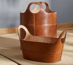 Hayes Leather Storage Baskets, Home Accessories, Handcrafted of high-quality cognac leather and detailed with topstitching, these baskets bring an elevated look to home storage. From organizing gear . Office Accessories, Leather Accessories, Home Decor Accessories, Decorative Accessories, Decorative Storage, Leather Gifts, Leather Craft, Handmade Leather, Leather Totes