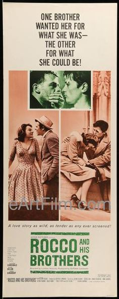 Happy #NationalBrothersDay https://eartfilm.com/search?q=brothers #BrothersDay #brothers #Bros #Rocco #TheGodfather #Godfather #posters #movieposters #film #cinema #movies #movie #poster #movieposter    Rocco And His Brothers 1961 14x36 U.S Release Insert Poster-Luchino Visconti-Alain Delon