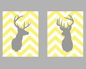 "Deer Silhouette with Chevron Zig Zag Stripes - One print -  11""x14"". $18.00, via Etsy."