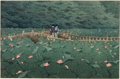 The Pond at Benten Shrine in Shiba, 1929 by Hasui Kawase (1883-1957). Woodblock print, 27,8 x 39,8 cm