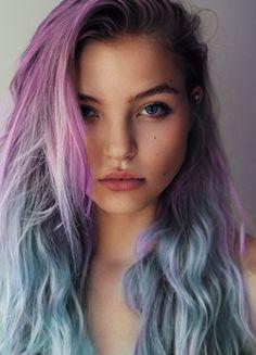 Purple to powder blue ombré