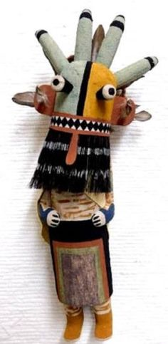 Hopi-Carved-14-034-Old-Style-Four-Horn-Guard-Kachina-Doll-Sculpture-by-Raynard-Lalo