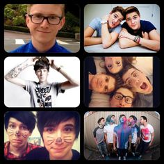some of my favorite youtubers....From top to bottom, left to right: Tyler Oakly, Jack & Finn Harries, Sam Pepper, Alfie Deyes & Zoe Sugg (Zoella) & Marcus Butler, Phil Lester & Dan Howell, then a whole bunch of youtubers in 1 pic.
