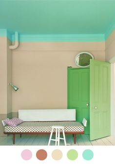 Love the simplicity of this room and the impact of color on ceiling and door, using the color combo I love so much (blue and green).
