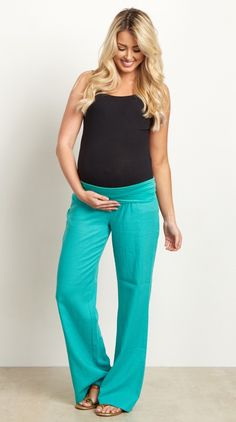These will be the most comfortable and stylish linen maternity yoga pants you will own in your closet. A simple linen pant with a loose fit and elastic waistband to accommodate a growing belly and easy mobility. Style these with your favorite basic top and flats for a complete casual outfit.