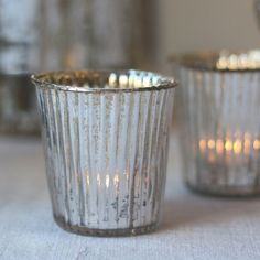 Ribbed Mercury Silver Glass Tea Light Holders - The Wedding of My Dreams