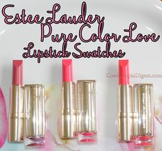 Review, swatches, and demo of the Estee Lauder Pure Color Love Lipsticks.