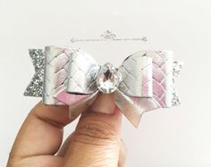 Girls Baby Gold and White Polka dot bow Pink by MeghanandJulie