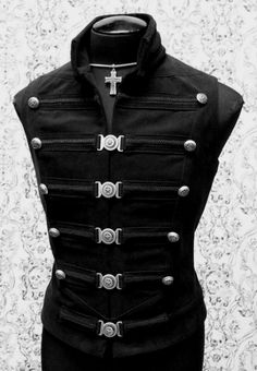 651385c2000f Shrine Mens Steampunk Gothic Military Uniform Vampire Metal Rock Band Vest  in Clothing