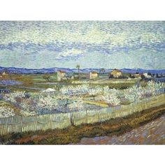 Vincent van Gogh 'Peach Trees in Blossom' Oil on Canvas Art
