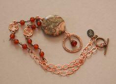 African Jasper and  Matte Carnelian Antiqued Copper Eyeglass Holder Necklace