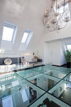 Luxury Glass Floor Tile For Modern Interior Design. I would be scared to walk on it!!