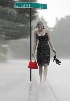 Love being barefoot and love walking in the rain