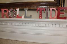 ROLL RIDE Wooden Vintage Mantle/Shelf Letters for The University of Alabama. $60.00, via Etsy.