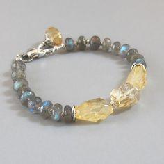 Labradorite Citrine Gemstone Sterling Silver Bead Bracelet DJStrang Schiller Color Flasing Blue Green Yellow Boho