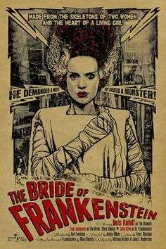 Bride of Frankenstein poster. 12x18. Kraft paper. Elsa Lanchester. Movie. Horror. Art. Print