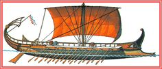 """An important version of an ancient warship was the """"bireme"""" equipped with an outrigger. The advantage was, that this way, a ship could have two rows of oars on each side. The upper row of oars-men was sitting on an upper bench more outside, so their oars wouldn't interfere with the oars of their fellow mates sitting below. A """"bireme"""" could be equipped with as many as a hundred oars-men, fifty on each side of the ship."""