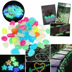 Garden Ornaments 100pcs Mixed Color Glow In The Dark Luminous Pebbles Stones…