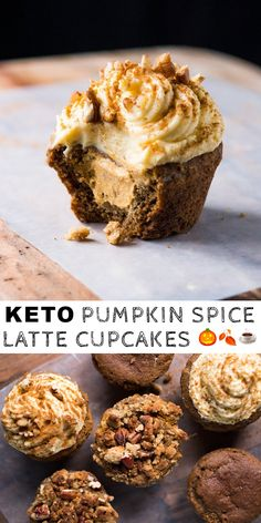 Gluten Free & Keto Pumpkin Spice Latte Cupcakes (Or Muffins!) #keto #lowcarb #ketorecipes #ketodiet #glutenfree #pumpkin #cupcakes
