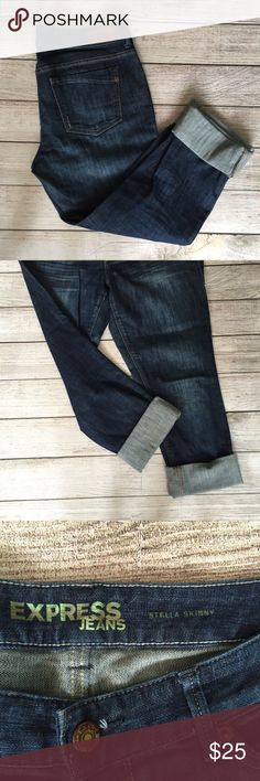 """Express Skinny Stella Jeans Slight distressing throughout. 8"""" rise. 29"""" inseam uncuffed. Could be worn cuffed or uncuffed. Great condition. 🚫NO TRADES/NO MODELING🚫✅BUNDLE TO SAVE ✅ Express Jeans Skinny"""