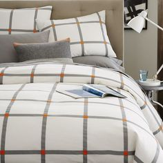 Plaid w/ brown , grey and orange #guestroom Pop Plaid Duvet Cover + Shams - Feather Gray | West Elm