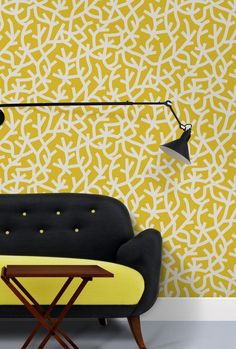 Mini Moderns A Forest is a large scale, graphic wallpaper design inspired by the branch formations of oak trees. Shown here in the mustard colourway. Mustard Wallpaper, Grey Wallpaper, Kids Wallpaper, Wallpaper Online, Flower Wallpaper, Wallpaper Ideas, Yellow Home Accessories, Yellow Home Decor, White Decor