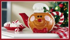Collections Etc - Smiling Gingerbread Collectible Holiday Tea Pot Christmas Dishes, Christmas Tea, Christmas Gingerbread, Christmas Kitchen, Christmas Themes, Christmas Decorations, Holiday Decor, Christmas China, Gingerbread Houses
