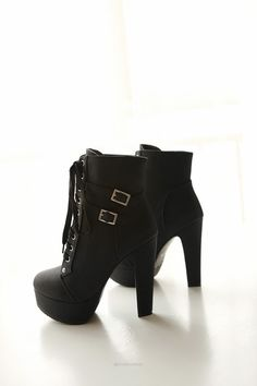 High Heel Lace Up Ankle Boots - Boots - Look Love Lust