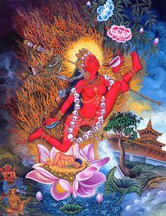 Vajrayogini, is a representation of complete Buddhahood in female form, whose practices are associated with the Chakrasamvara Cycle of Anuttarayoga Tantra Tibetan Art, Tibetan Buddhism, Buddhist Art, Buddha Buddhism, Shiva, Flower Ornaments, Sacred Feminine, Gods And Goddesses, Deities