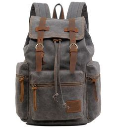 Side view of gray casual canvas backpack with laptop compartment