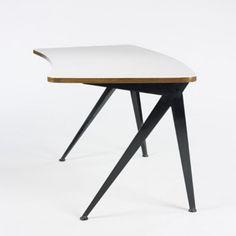 "Jean Prouve's ""curved Compass desk"", France 1958."