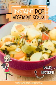 This recipe is for all those who love and want to try their own vegetable soup in their Instant Pot. Vegetable Soup Healthy, Vegetable Soup Recipes, Healthy Vegetables, Chicken And Vegetables, Low Carb Soup Recipes, Chowder Recipes, Dinner Recipes, Ham And Cabbage Soup, Instant Pot