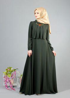 Discover thousands of images about T 2153 Tuay Pelerinli Bebe Yaka Elbise - HAKİ - Trend Tesettür Abaya Fashion, Modest Fashion, Fashion Dresses, Fashion Cape, Hijab Style Dress, Abaya Style, Moslem Fashion, Mode Abaya, Muslim Dress