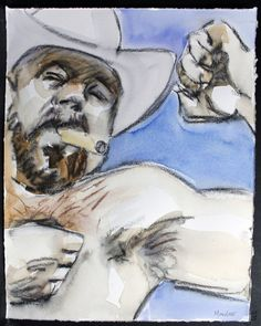 Rodeo Cowboy Bear with a Cigar watercolor on Rives BFK by kmencher, $48.00