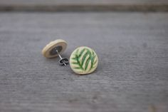 Green Earrings, Stud Earrings, Clay Ornaments, Sensitive Ears, Ear Studs, Handmade Pottery, Bohemian Jewelry, Belly Button Rings, Flora