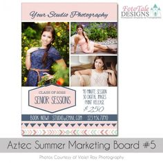Custom Senior Grad Marketing Board - Mini Session Ad - Aztec Summer Marketing Board #5 Custom photoshop template for photographers and designers. Fully customizable. All colors and text are easy to change.  Instant download  Senior graduation digital templates. #seniorphotographer #gradtemplate #photoshoptemplate #aztecsummer #tribaldesign Graduation Templates, Graduation Announcements, Senior Session, Mini Sessions, Card Templates, Photo Cards, Aztec, Photographers, Designers