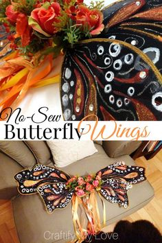 DIY now-sew monarch butterfly wings that can also be used for a fairy Halloween costume. You can make them probably solely from things you have at home! Click for a detailed step by step tutorial. #craftifymylove #butterflywings #fairywings #DIYhalloweenc