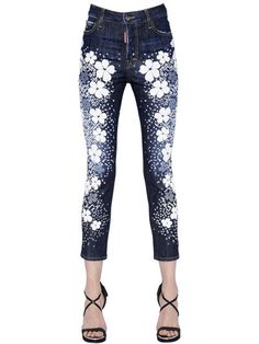 DSQUARED2 - LONDEAN FLOWER PRINTED DENIM JEANS - LUISAVIAROMA - LUXURY SHOPPING WORLDWIDE SHIPPING - FLORENCE