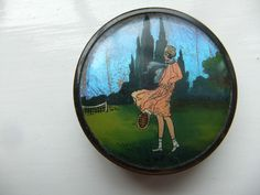 Vintage Coty Butterfly Wing Rouge Powder Compact Tennis Design